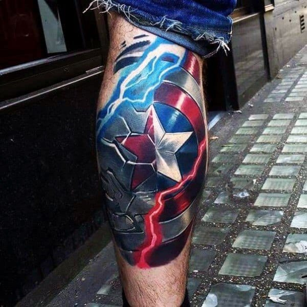 Realistic 3d Shield Captain America Themed Mens Leg Sleeve Tattoos