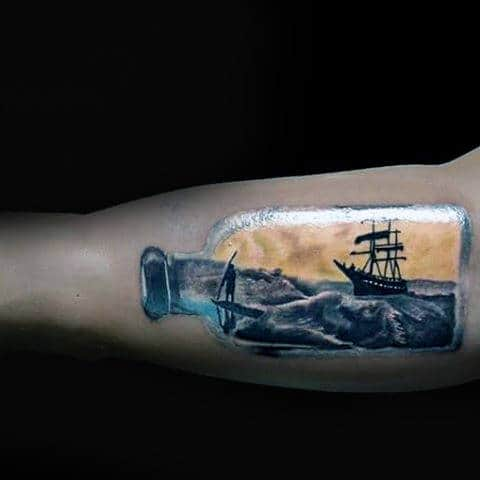 Realistic 3d Ship In A Bottle With Ocean Waves And Man On Surfboard Tattoo For Guys On Bicep