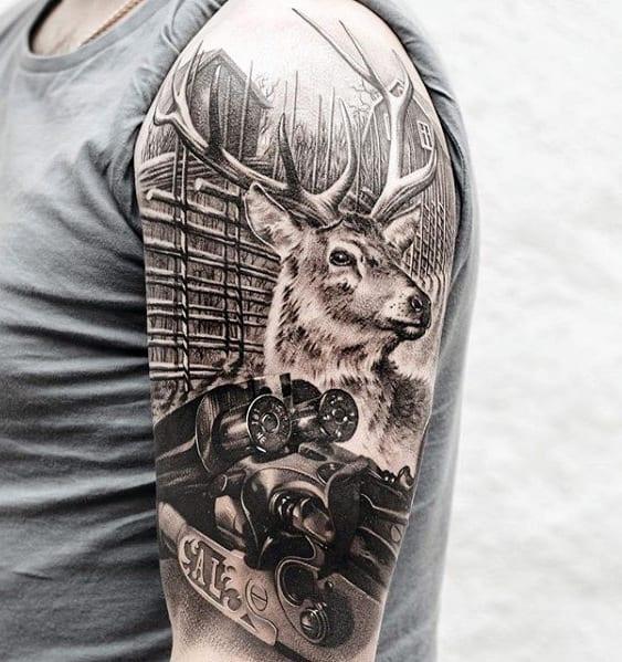 Realistic 3d Shotgun With Deer Sweet Mens Half Sleeve Tattoo Designs