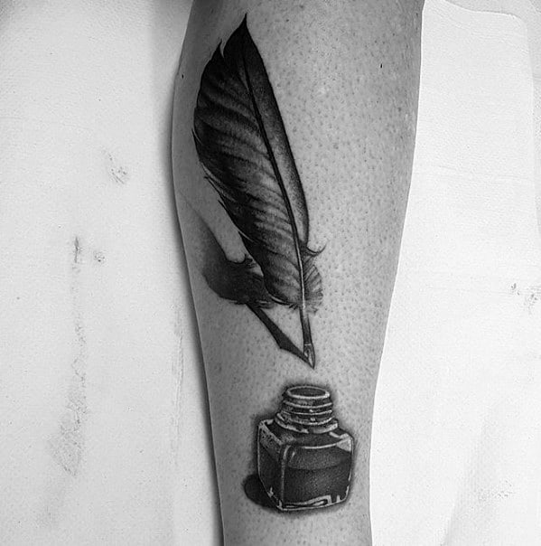 Realistic 3d Side Of Leg Quill Guys Tattoos