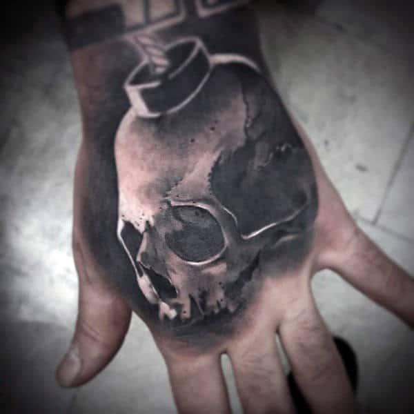 Realistic 3d Skull Bomb Mens Hand Tattoo