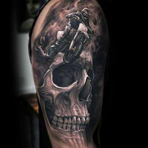 Realistic 3d Skull Motocross Mx Mens Tattoos