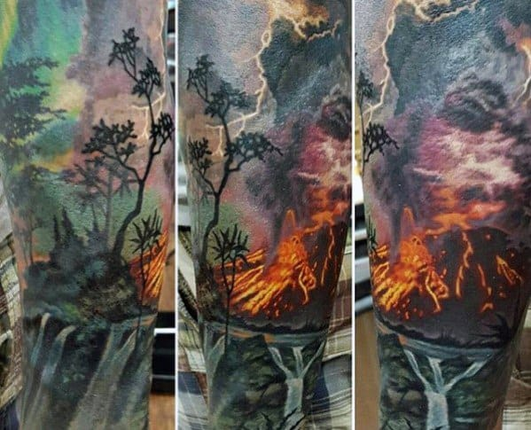 Realistic 3d Sleeve Volcano Male Tattoos