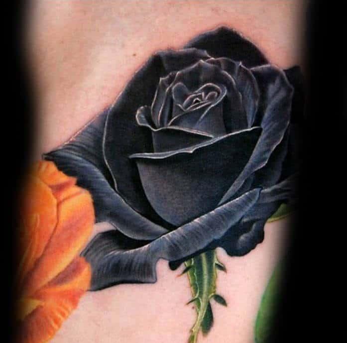 Realistic 3d Small Black Rose Tattoo On Man