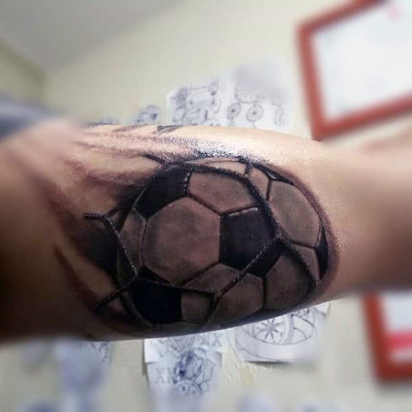 Realistic 3d Soccerball And Net Guys Bicep Tattoos