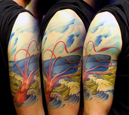 Realistic 3d Squid Tattoo With Ocean Waves And Boat On Upper Arm For Men