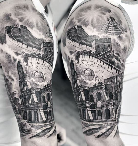 Realistic 3d Sweet Great Of Wall Of China Tattoo Half Sleeve For Men