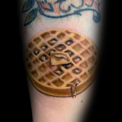 Realistic 3d Tattoo Waffle Syrup With Butter Ideas For Guys