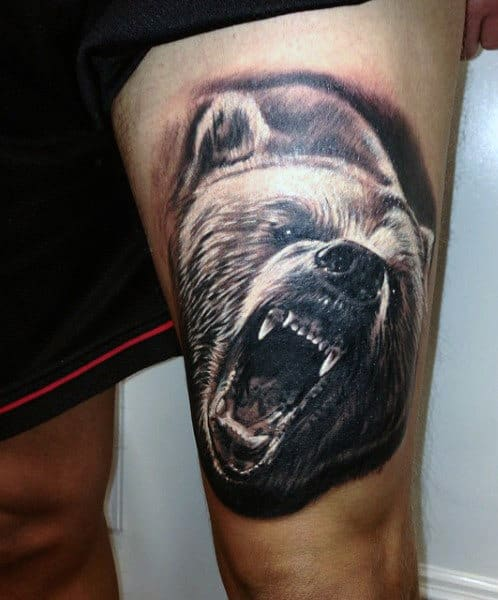Realistic 3d Thigh Bear Tattoo For Men