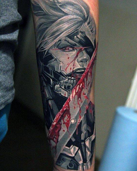 Realistic 3d Video Game Forearm Sleeve Metal Gear Male Raiden Tattoo Designs