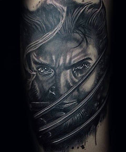 Realistic 3d Wolverine Mens James Howlett Portrait Tattoo Design Inspiration On Arm