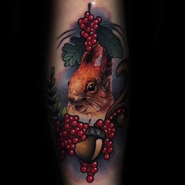 Realistic Acorn With Squirrel Neo Traditional Mens Tattoos