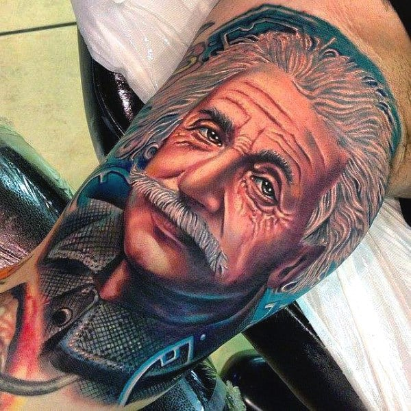 Realistic Albert Einstein Science Mens Tattoo Design