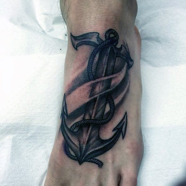 Realistic Anchor And Rope Tattoo On Foot For Males