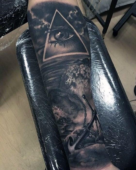 Realistic Anchor Ocean Wave Mens Forearm Sleeve Tattoo