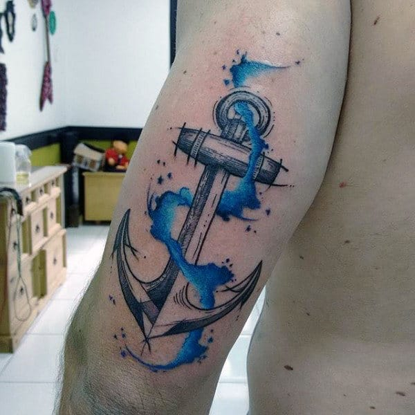 Realistic Anchor With Blue Watercolor Tattoo On Arms For Men
