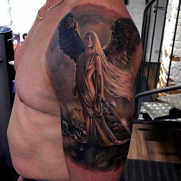 Realistic Angel Half Sleeve Tattoo Mens Cover Up Ideas