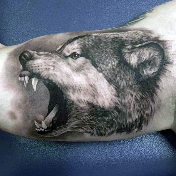 Realistic Angry Wolf Mens Inner Arm Bicep Tattoos