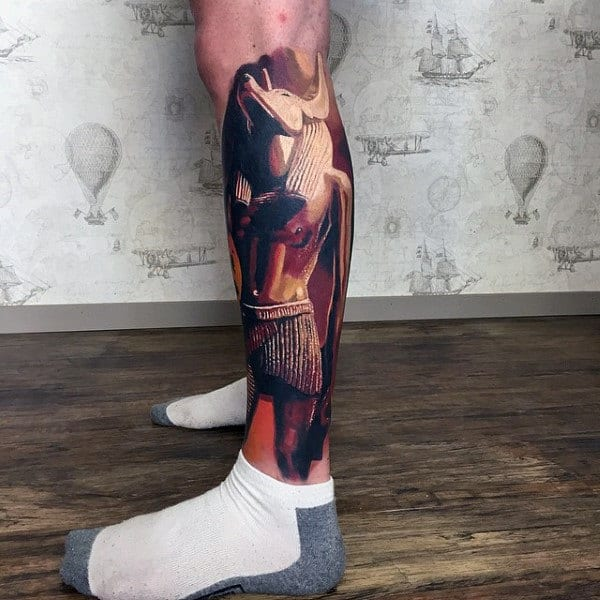 Realistic Anubis 3d Mens Leg Sleeve Tattoos