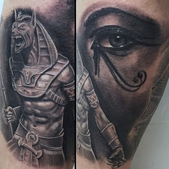 Realistic Anubis Mens Arm Tattoo Ideas