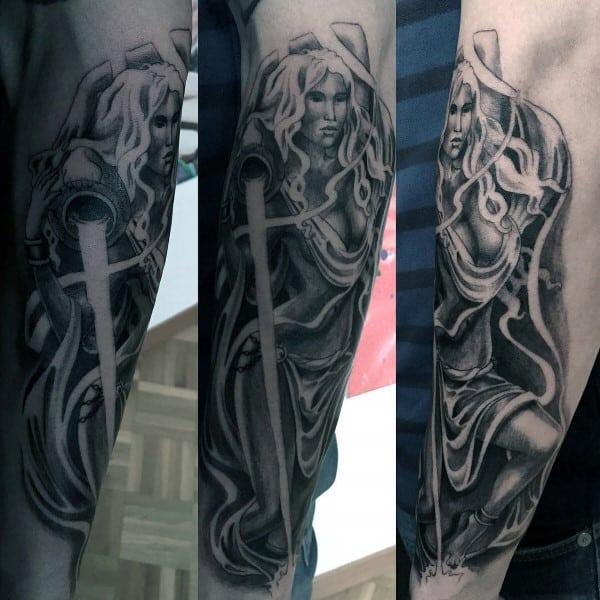 Realistic Aquarius Forearm Male Shaded Tattoos