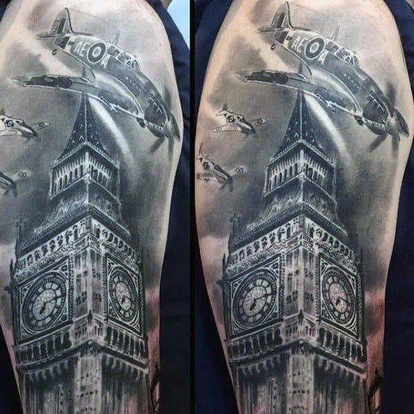 Realistic Arm Big Ben Tattoo Design On Man