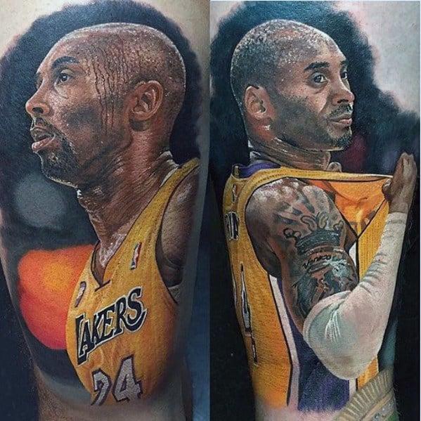 Realistic Arm Cool Male Kobe Bryant Basketball Tattoo Designs