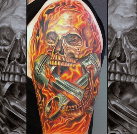 Realistic Arm Pistons Tattoo Ideas For Males With Flames