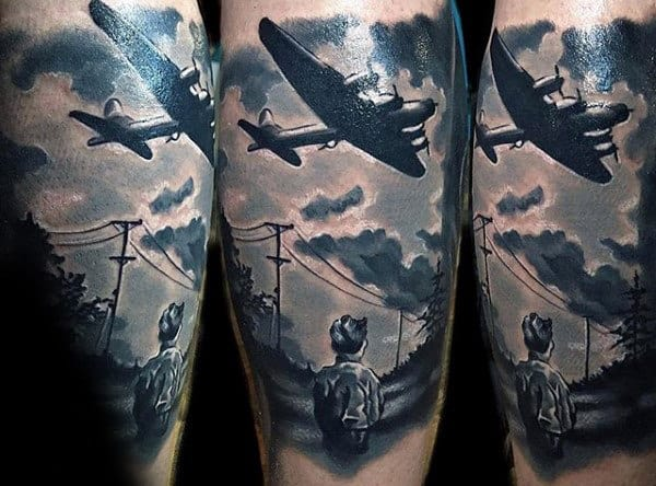 Realistic Army Plane With Child Watching Mens Forearm Sleeve Tattoo