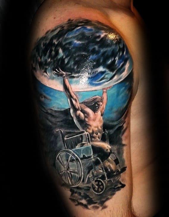 Realistic Atlas In Wheelchair Mens Upper Arm Watercolor Tattoo