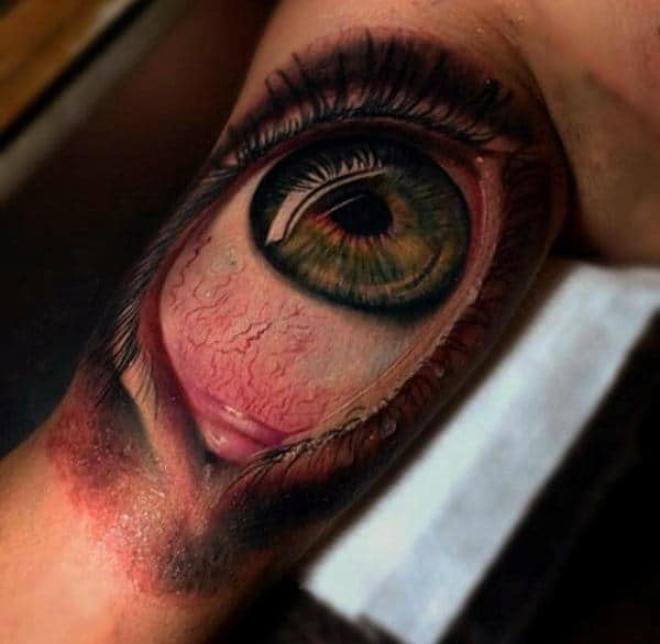 Realistic Awesome 3d Eyeball Tattoo For Guys On Biceps