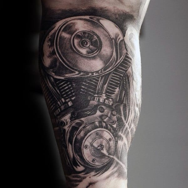 Realistic Awesome Grey Engine Tattoo On Mans Bicep