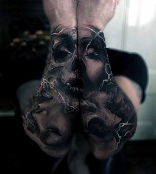 Realistic Awesome Mens Forearm Sleeve Tattoos Of Female Portrait Design