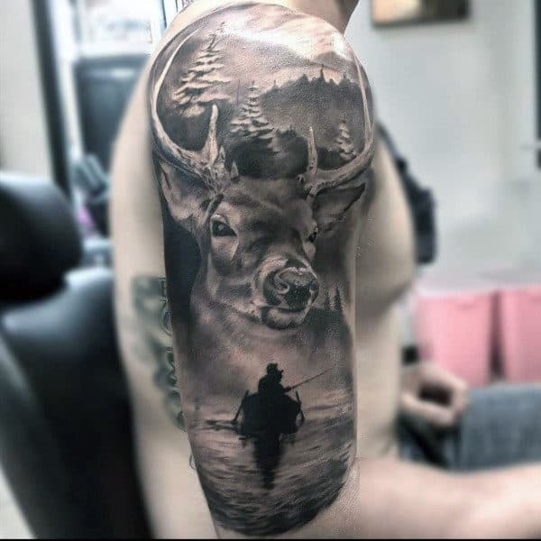 Realistic Badass Deer Wilderness Outdoor Half Sleeve Guys Tattoos
