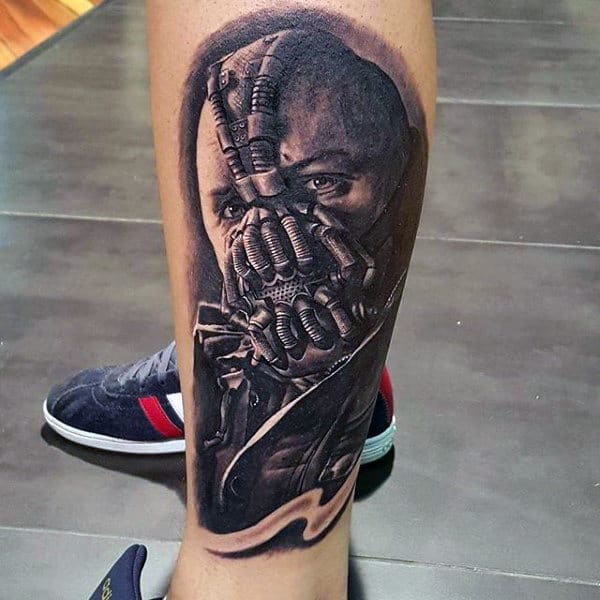 Realistic Bane Mens Lower Leg Tattoo