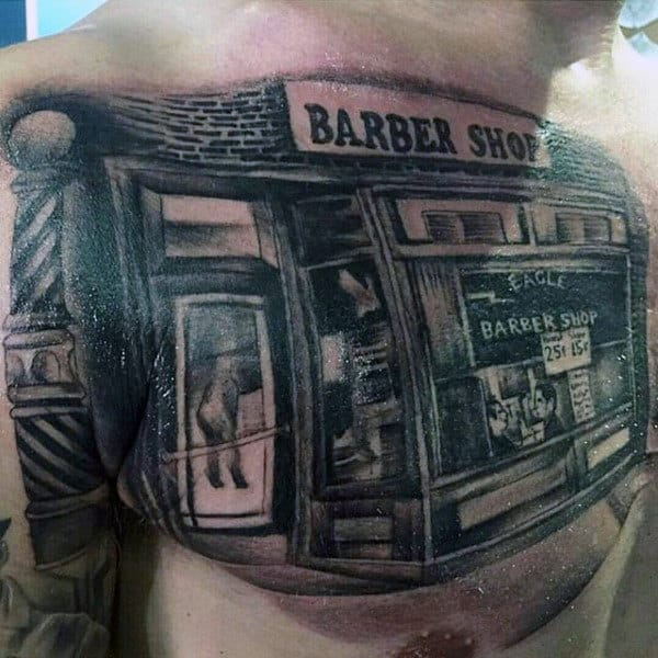 Realistic Barbershop Building Tattoos On Chest For Men