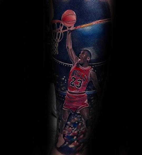 Realistic Basketball Player Guys Chicago Bulls Sleeve Tattoo