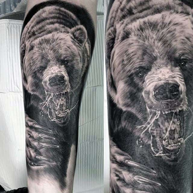 Realistic Bear Claw Mens Forearm Sleeve Tattoos