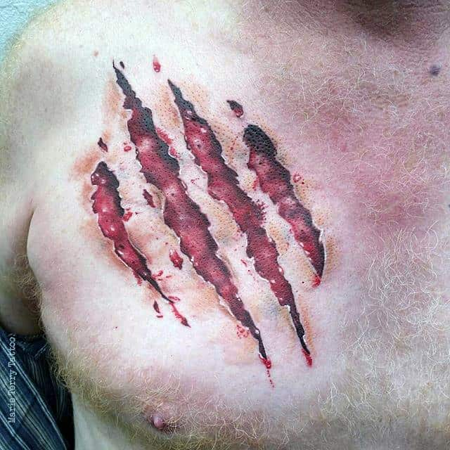 Realistic Bear Claw Ripped Skin Male Chest Tattoos