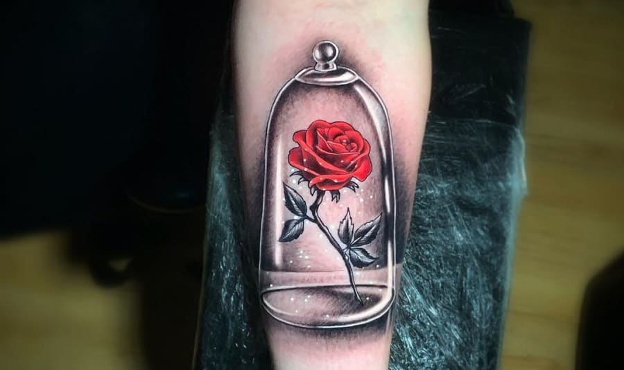 Top 71 Beauty and The Beast Rose Tattoo Ideas – [2021 Inspiration Guide]