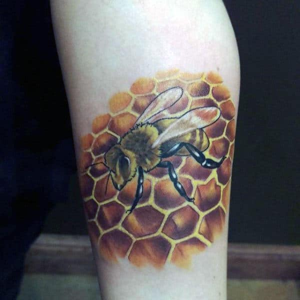 e56c878d6 Realistic Bee On Caramel Colored Honeycomb Tattoo Mens Arms