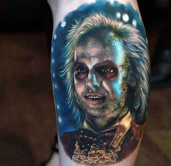 Realistic Beetlejuice Portrait Arm Tattoo On Male