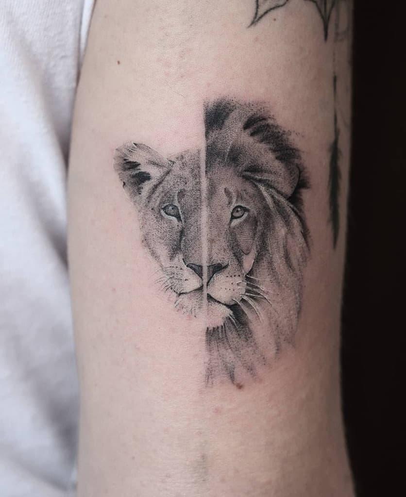 Realistic Big Cat Lioness Tattoo