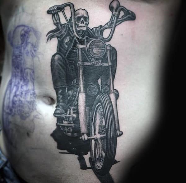 Realistic Biker Ribs Male Tattoo Ideas