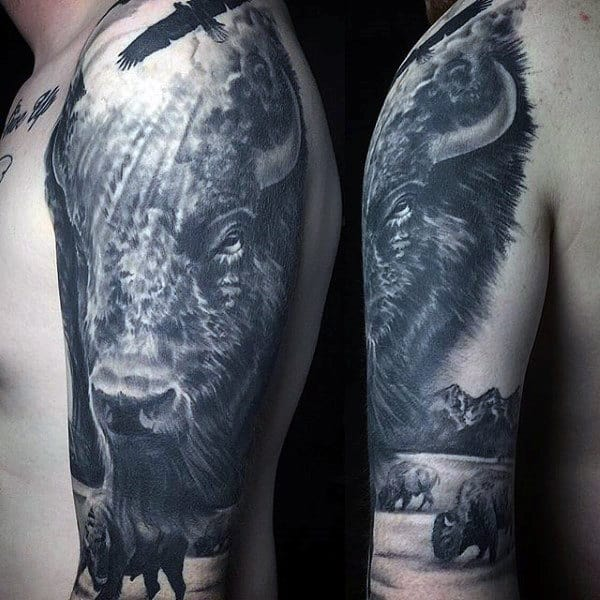Realistic Bison Buffalo Mens Half Sleeve Tattoos