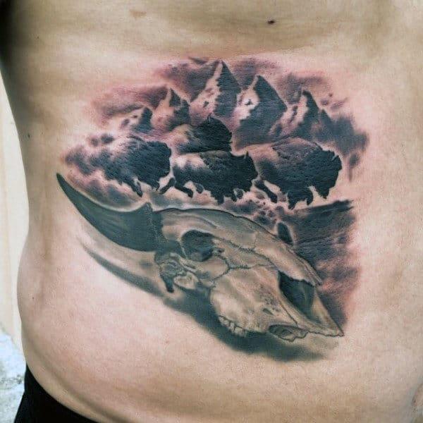 Realistic Bison Skull Mens Lower Ribs Tattoo