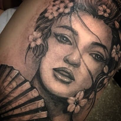 Realistic Black And Grey Geisha Tattoo