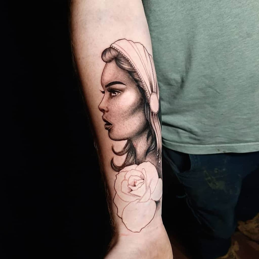 Realistic Black And Grey Gypsy Tattoo