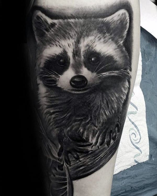 Realistic Black And Grey Ink Male Shaded Raccoon Tattoos