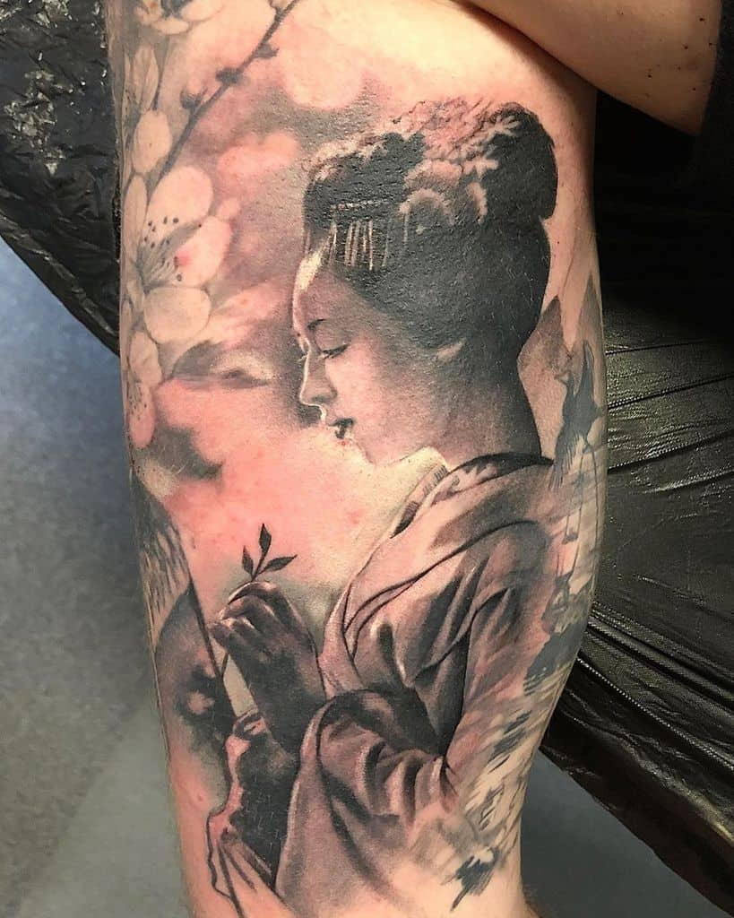 Realistic Black And Grey Prophets And Poets Geisha Tattoo